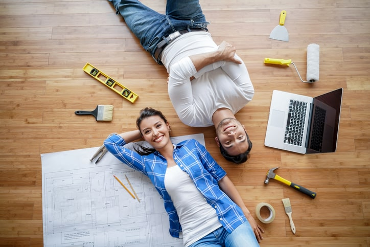 Couple working on a housing project